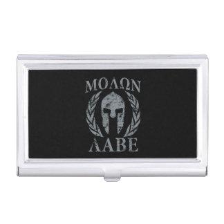 Molon Labe Spartan Warrior Laurels Grunge Business Card Holder