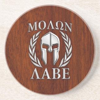 Molon Labe Spartan Warrior Laurels Mahogany Print Coaster