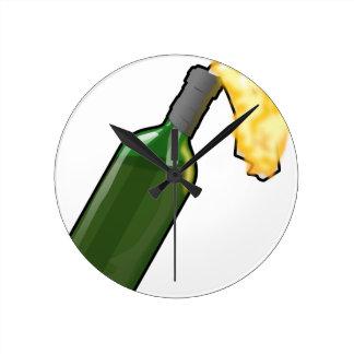 Molotov Cocktail Round Clock