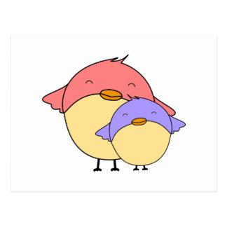 Mom and baby bird postcard