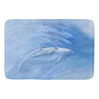 Mom and Baby Bottlenose Dolphin swimming together Bath Mat