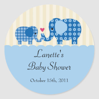 Mom and Baby Boy Elephant Favor Sticker