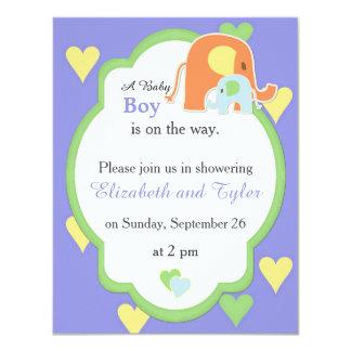 Mom and Baby Boy Elephant Shower Invitation