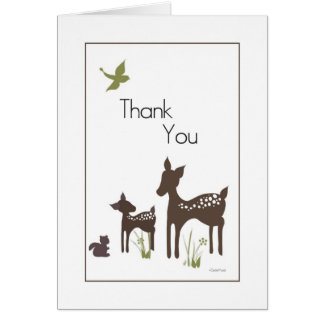 Mom and Baby Deer Thank You Card