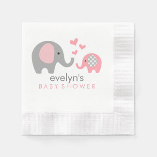 Mom and Baby Elephant Baby Shower Napkins Pink Disposable Napkin