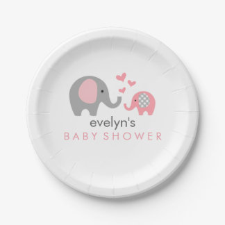 Mom and Baby Elephant Baby Shower Paper Plate Pink