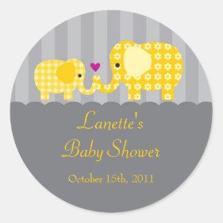 Mom and Baby Elephant Unisex Favor Sticker