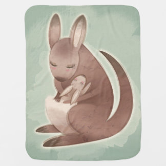 Mom and Baby Kangaroo Baby Blanket