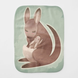 Mom and Baby Kangaroo Burp Cloth
