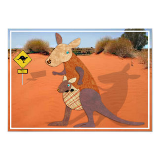 Mom and Baby Kangaroo in the Outback 13 Cm X 18 Cm Invitation Card