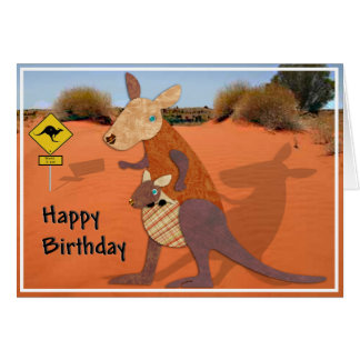 Mom and Baby Kangaroo in the Outback Birthday Card