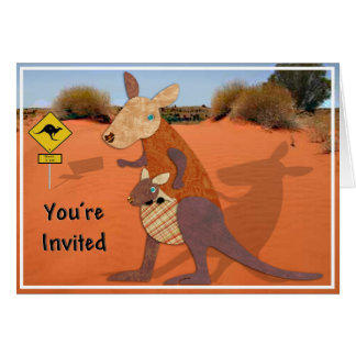 Mom and Baby Kangaroo in the Outback Invite Cards