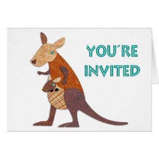 Mom and Baby Kangaroo Invite Cards
