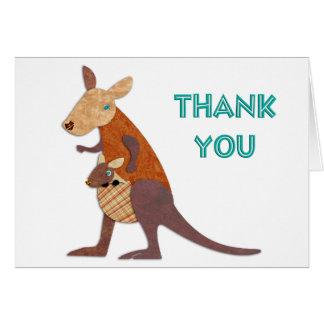 Mom and Baby Kangaroo Thanks Greeting Card