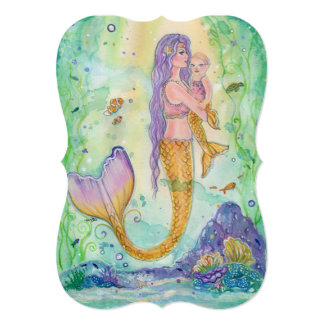 Mom and baby mermaid baby shower invitations