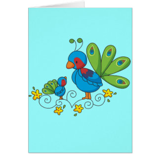Mom and Baby Peacock Card