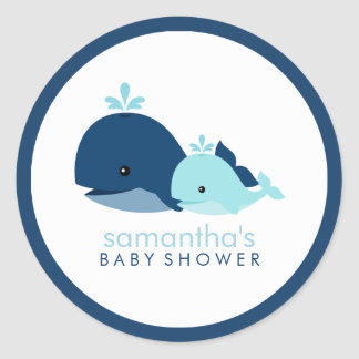 Mom and Baby Whale Baby Shower {blue} Round Sticker