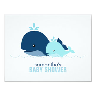 "Mom and Baby Whale Mom Advice Cards {blue} 4.25"" X 5.5"" Invitation Card"