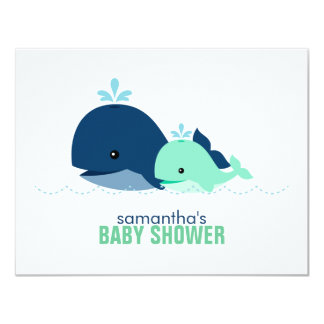 "Mom and Baby Whale Mom Advice Cards {green} 4.25"" X 5.5"" Invitation Card"