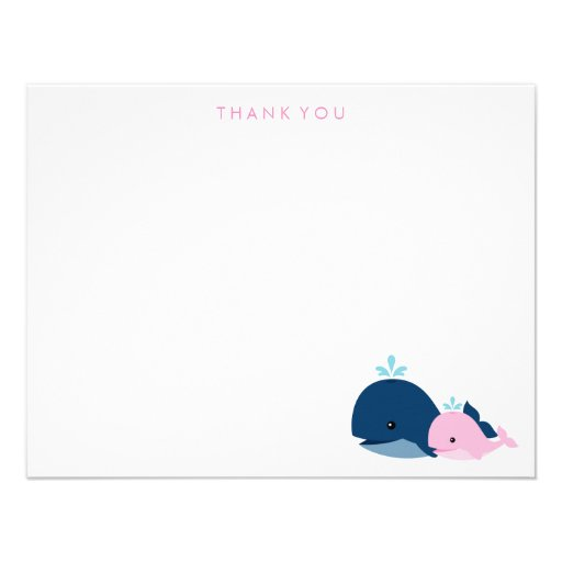 Mom and Baby Whale Thank You Notes {pink} Custom Announcements