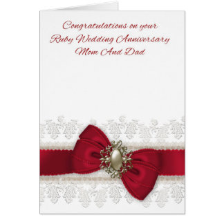 Mom And Dad Ruby Wedding Anniversary Stylish Card