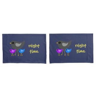 Mom baby birds animal pillowcase