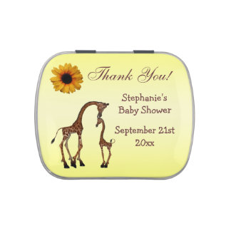 Mom Baby Giraffe Baby Shower Thank You Favor Jelly Belly Tins