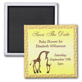 Mom & Baby Giraffe Save the Date Baby Shower Magnet