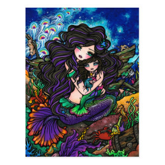 Mom & Baby Mermaid Fantasy Marine Art Postcard