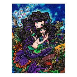 Mom & Baby Mermaid Fantasy Marine Art Postcard
