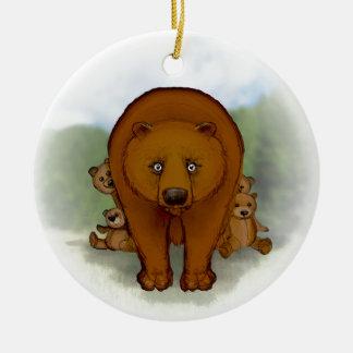 Mom bear ceramic ornament