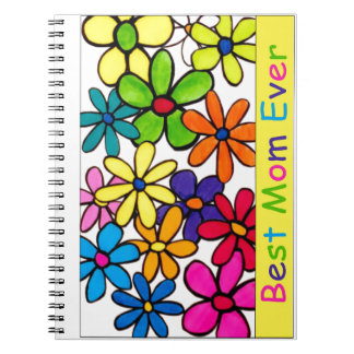 mom best mom ever flowers spiral notebooks