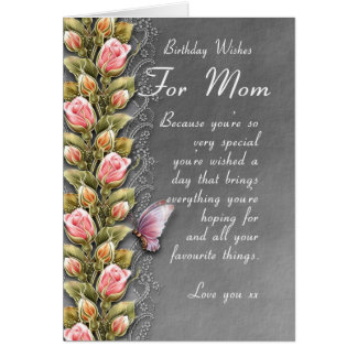 mom birthday card - birthday card with roses and b