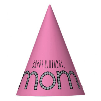 Mom bling customizable background color party hat