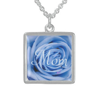 """""""Mom"""" Blue Rose Silver Square Necklace"""