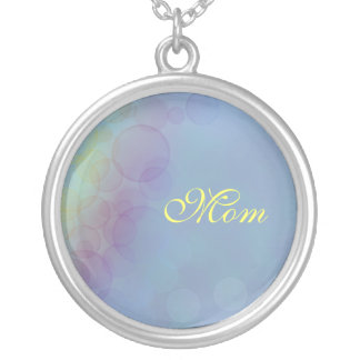 Mom, Blurred Lights on blue background Necklace
