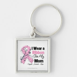 Mom - Breast Cancer Pink Ribbon Silver-Colored Square Key Ring