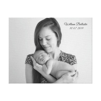 Mom & Bub Newborn Baby Name Birth Photo Picture Canvas Print