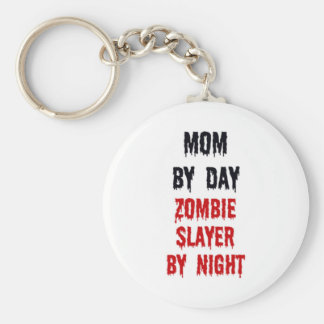 Mom By Day Zombie Slayer By Night Basic Round Button Key Ring