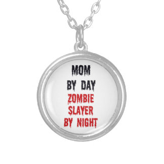 Mom by Day Zombie Slayer by Night Silver Plated Necklace
