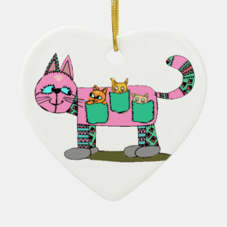 Mom Cat Carrying Her Cute Curious Kittens Ceramic Heart Decoration