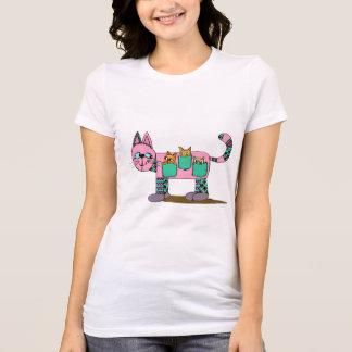 Mom Cat Carrying Her Cute Curious Kittens T-Shirt