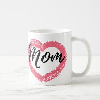 Mom Crayon Heart Peach Coffee Mug