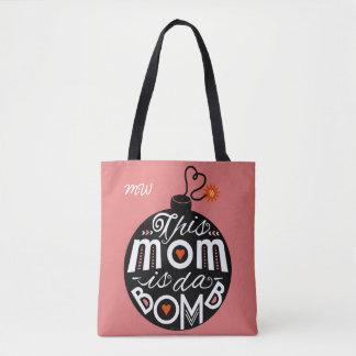 Mom da Bomb Cute Typography Monogram | Mothers Day Tote Bag