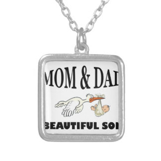 Mom Dad and beautiful son Silver Plated Necklace