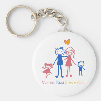 Mom, Dad & children Basic Round Button Key Ring
