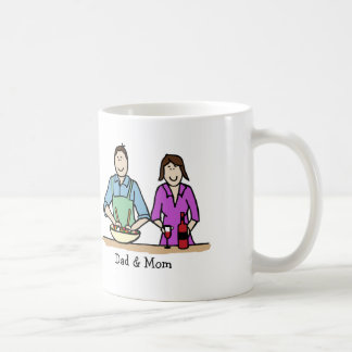 Mom & Dad cooking - custom cartoon mug