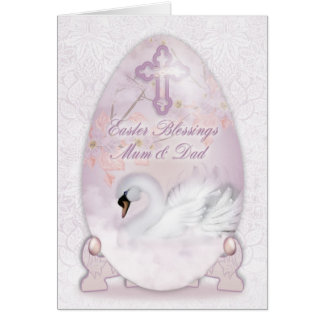 Mom & Dad, Easter Card With Decorated Egg, Swan