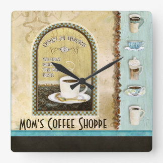 Mom Deja Brew Coffee Art Stacked Cups Mug Caffeine Square Wall Clock