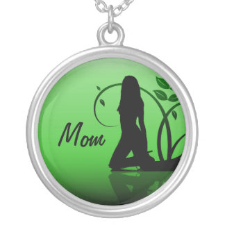 Mom, Green Damsel Silhouette Necklace